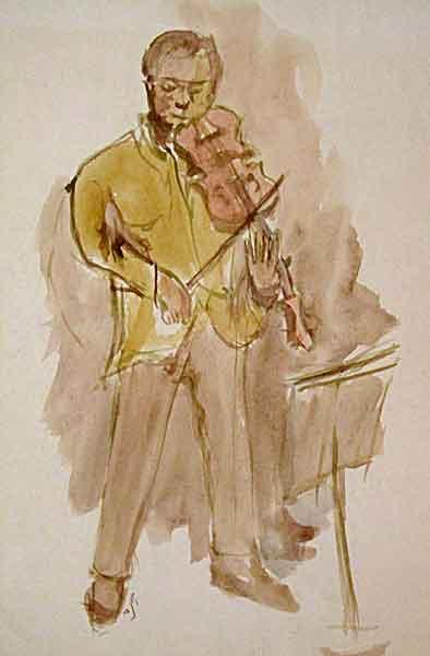 violinist - watercolor 1986