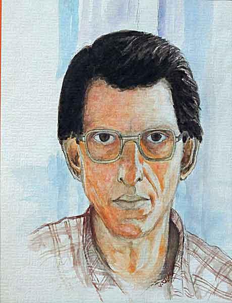 autoportrait pencil and watercolor , 1991