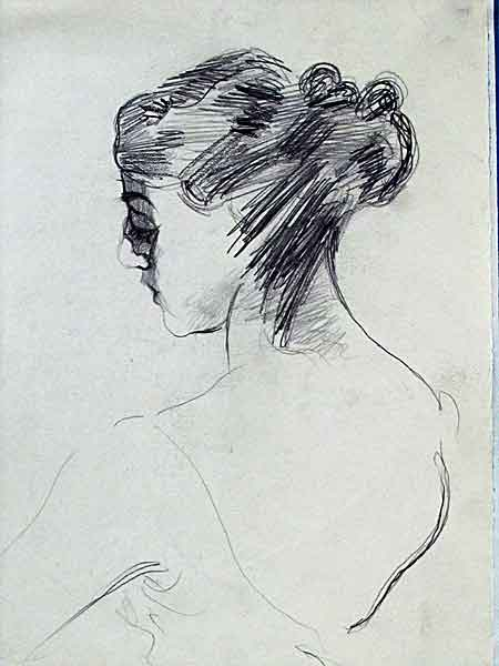 portrait of ballerina scetch with pencil
