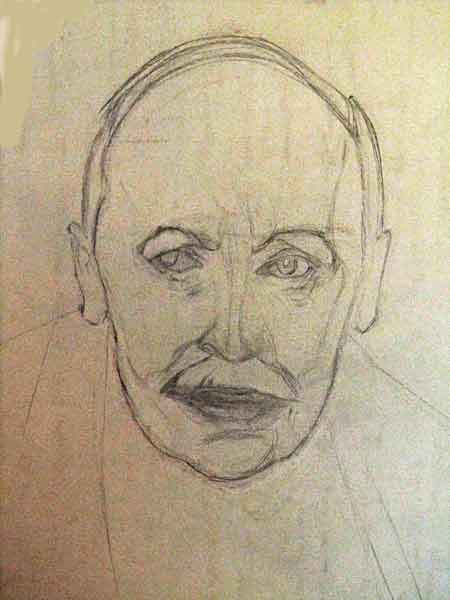 portrat of Romain Rolland writer scetch with pencil