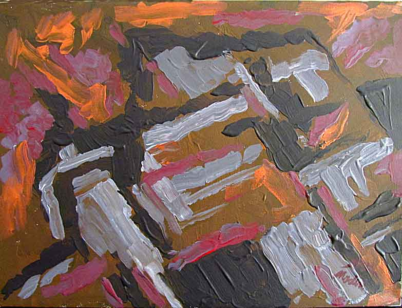on high: mixed media(acrylic, copper)on canvas. 30 by 40 cm, Apryl2014