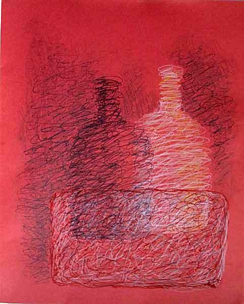 Twin bottles- oil pastil on color paper, 2014