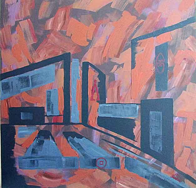 buildings: acrylic on canvas, 80x80cm. September2014