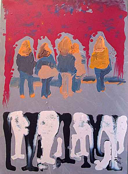 Populace and girls : acrylic on canvas, 50x70cm. December 2014