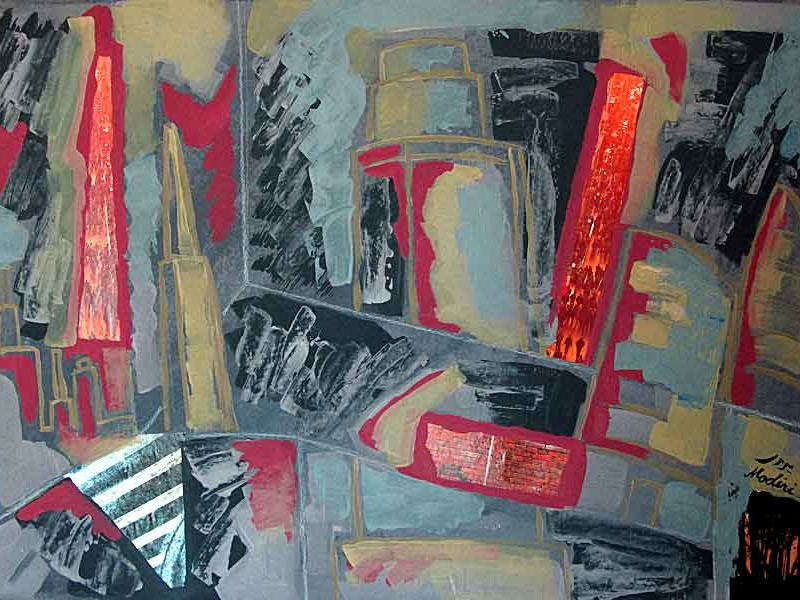 Buildings :mixed media(acrylic , collage,pencil) on paper ,70x100 cm. August 2015