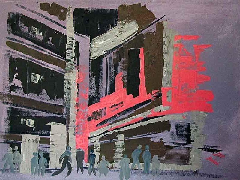 City :acrylic on paper ,70x100 cm. August 2015