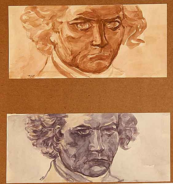 Two sketch of Beethoven head – Ink – 1983
