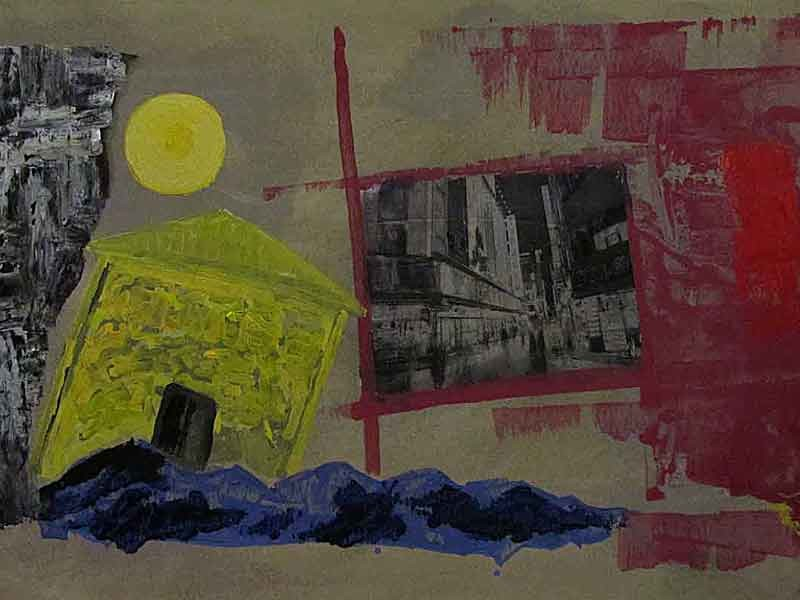 Landscape :mixed media( acrylic , photoprint)  on paper ,70x100 cm. October 2015