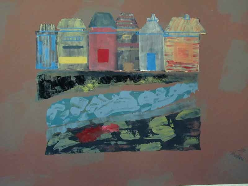 Children house and river:acrylic  on cardboard(800 grams) ,70x100 cm. March2016