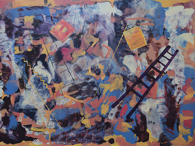 Earth#15-ladders and squares, acrylic on canvas, 75x105cm,March 2017